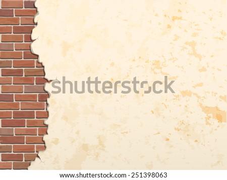 cracked concrete brick wall vintage  vector background - stock vector