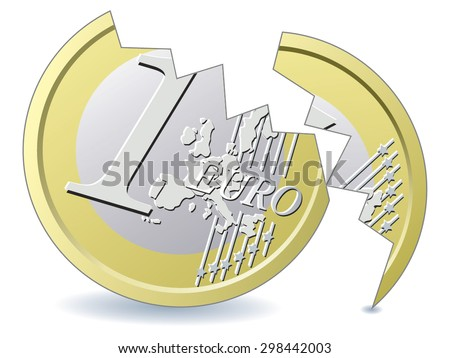 Cracked Euro coin - stock vector