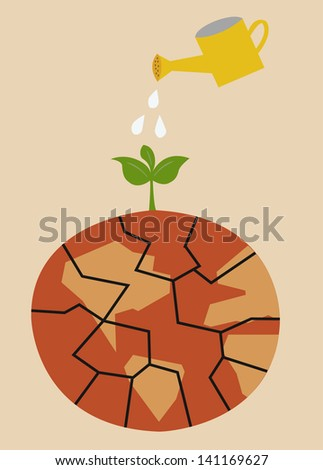 Cracked heated earth and green sprout which grows from a crack. eco concept - stock vector