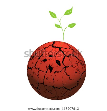 Cracked  heated earth and green sprout which grows from a crack. The concept - a problem of a global drowning. Vector. eps 8 - stock vector