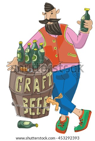 Craft beer vendor. Bearded hipster trades with self made original beer. Food and beer festival. - stock vector