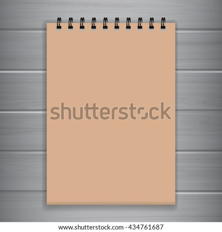 Craft Paper Blank Notebook Template for Advertising and Corporate Identity. Realistic  Craft Paper Spiral Notepad Mockup Vector with Wood Background. - stock vector