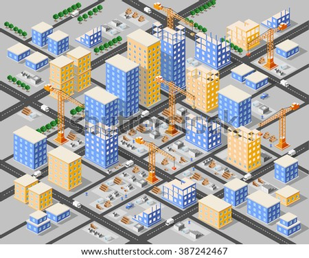 Crane construction industry town Isometric big city - stock vector