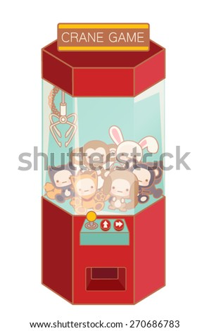 Crane game machine with cute doll and lovely toy isolated on white  - Vector file EPS10  - stock vector