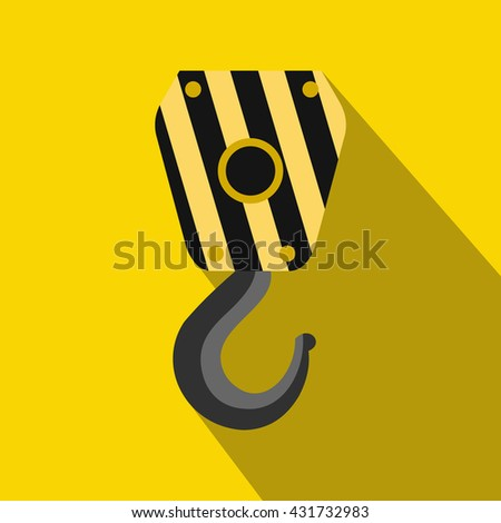Crane hook icon, flat style - stock vector