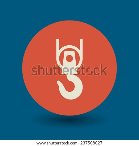 Crane hook icon or sign, vector illustration - stock vector