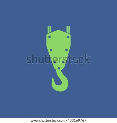crane hook vector icon. Flat design style. - stock vector