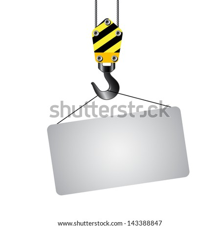 Crane hooks with empty board on white background. 3d - stock vector
