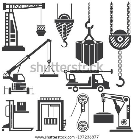 Hook Icon Vector Crane Icons Set Shipping Hook