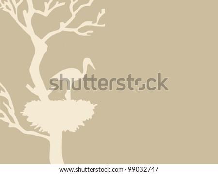 crane in jack on brown background, vector illustration - stock vector