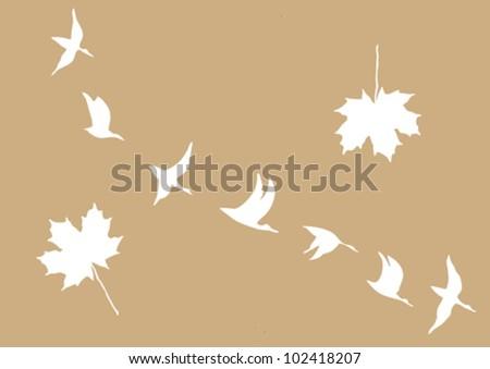 crane in sky on brown background, vector illustration - stock vector