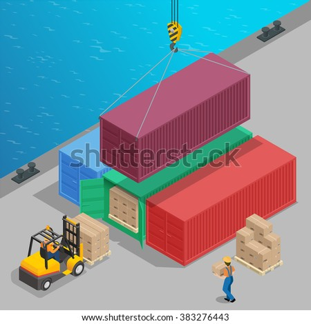 Crane lifts a big container with cargo isometric. Global logistics. Freight transportation 3d concept. Cargo loading operation. Shipment. Delivery  flat 3d isometric illustration - stock vector