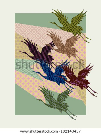 crane patterns: shapes consisting of abstract background elements and crane silhouettes are filled with different traditional Japanese patterns. - stock vector