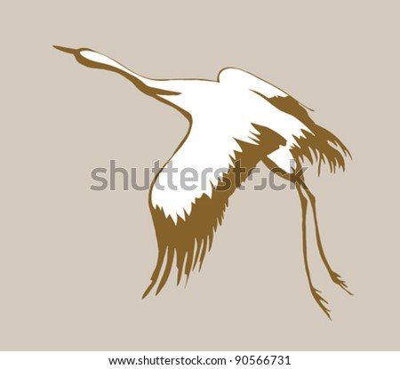 crane silhouette on brown background, vector illustration - stock vector
