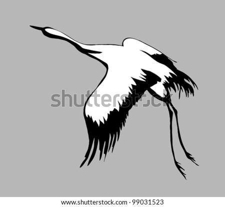 crane silhouette on gray background, vector illustration - stock vector