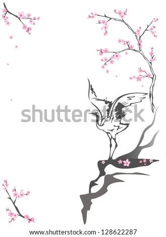 crane standing on a cliff among blooming springtime trees - seasonal background with place for your text - stock vector
