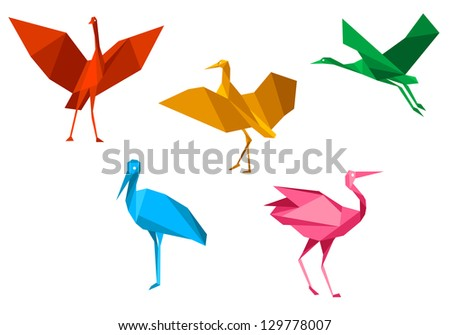 Cranes, storks and herons birds in origami style isolated on white background. Jpeg version also available in gallery - stock vector