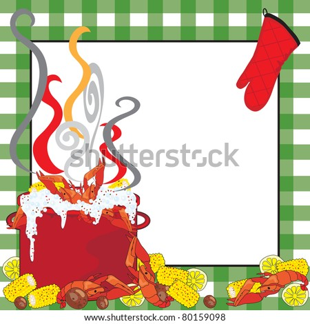 Crawfish Boil Invitation with a green tablecloth frame - stock vector