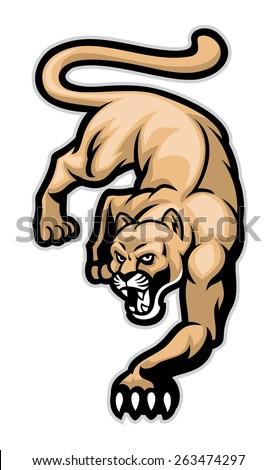 crawling cougar - stock vector