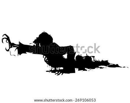 crawling rotten zombie - stock vector