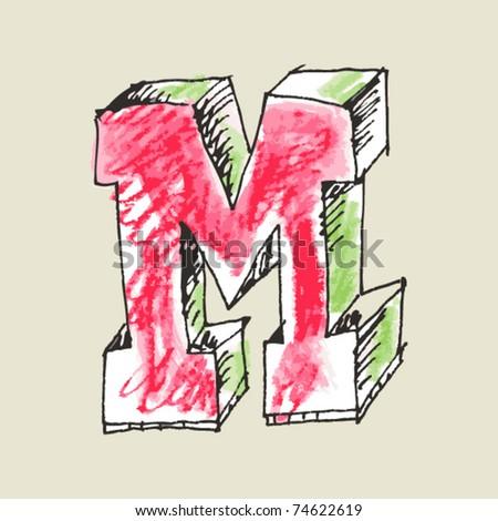 crayon alphabet, hand drawn letter M - stock vector
