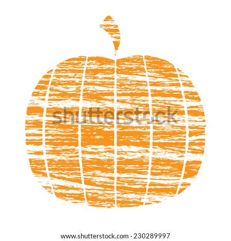 Crayon Pumpkin - stock vector