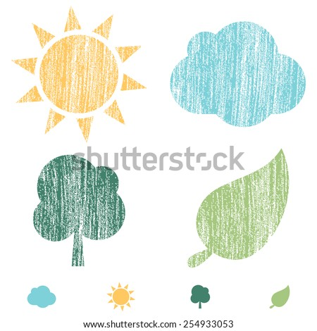 Crayon Word Bubbles - Set of 4 Nature icons with a crayon texture.  Colors are global and can be easily edited. - stock vector