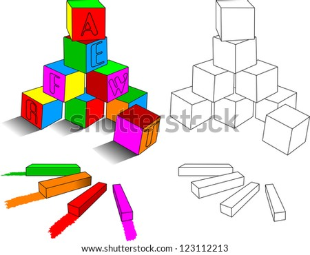 crayons and  cubes - stock vector