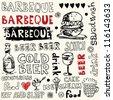crazy barbeque doodles - stock vector