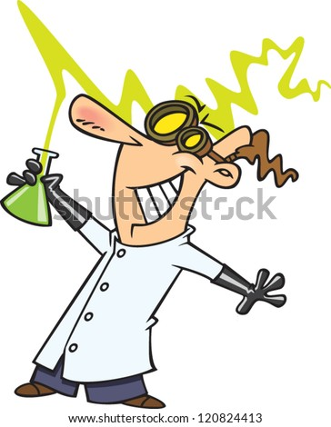 crazy cartoon mad scientist man with goggles and a beaker of liquid - stock vector