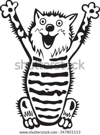 Crazy Cat, black and white style - stock vector