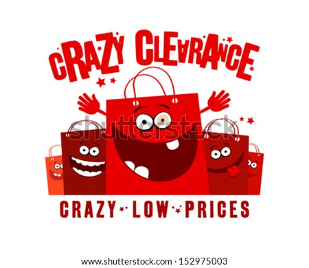 Crazy clearance low prices illustration with shopping bags - stock vector