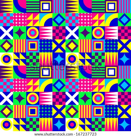 Crazy Colorful Geometric Squares Pattern - stock vector