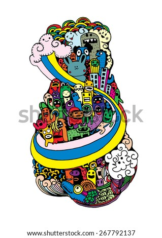 Crazy doodle City,doodle drawing style.Vector illustration. - stock vector