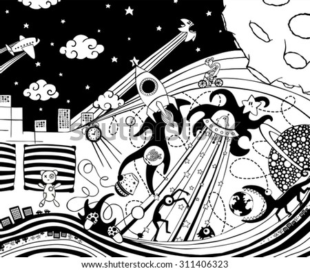 Crazy dreams in black and white - stock vector