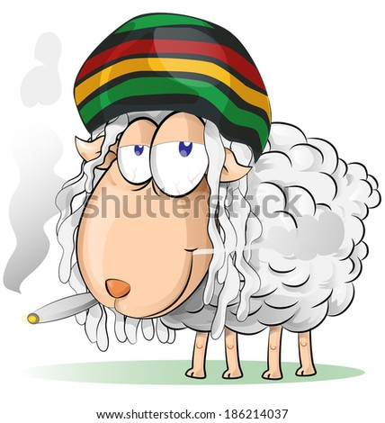 crazy jamaican sheep cartoon - stock vector