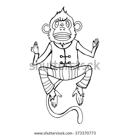 Crazy monkey. Sketched monkey. Whiteboard drawing. Vector illustration - stock vector