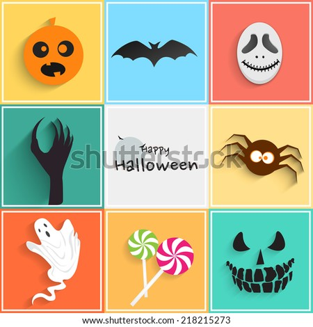 Crazy monster on colorful background for Happy Halloween party celebrations.  - stock vector