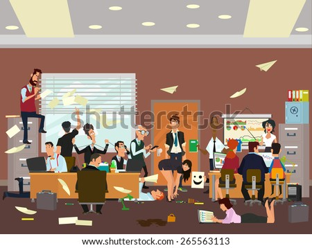 crazy office. working atmosphere in the office. coordinated work in friendly team in the office. modern office. vector illustration of a flat style. - stock vector