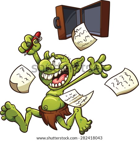 Crazy patent troll. Vector clip art illustration with simple gradients. Elements on separate layers for easy editing. - stock vector