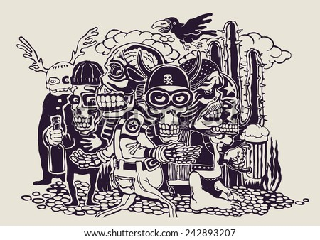 crazy persons, bikers, skulls and cactus. vector illustration. - stock vector
