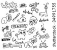 Crazy pets and zoo animal doodles - stock vector