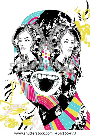 crazy psychedelic illustration with mutant monster girl heads instead of eyes - stock vector