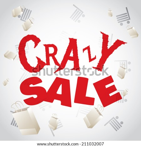 Crazy sale white red design template   - stock vector