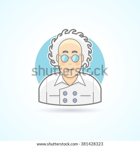 Crazy scientist look, nerd in glasses and overall icon. Avatar and person illustration. Flat colored outlined style. Vector illustration. - stock vector