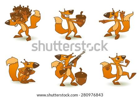 Crazy Squirrel set, vector - stock vector