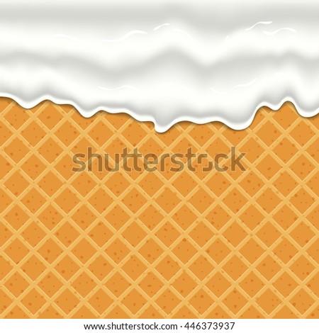 cream or yogurt dripping down seamless texture of waffles. - stock vector