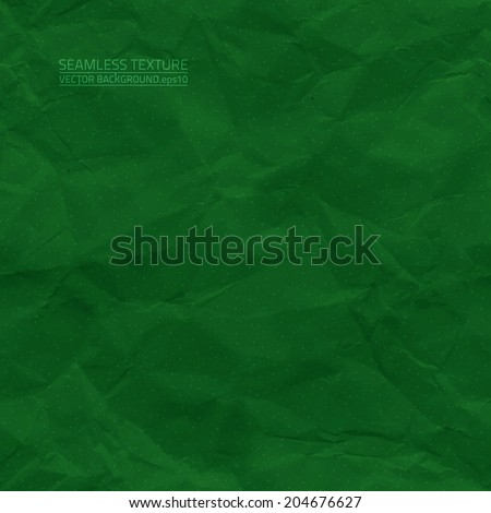 Creased green paper vector seamless texture. Vector seamless pattern. Vector seamless background. Abstract vector background. Seamless vintage background. Seamless retro background. Old paper texture - stock vector