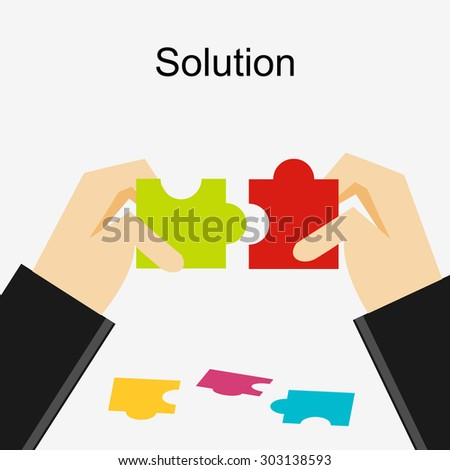 Create a solution illustration. Making a solution concept. Business people with puzzle pieces. Flat design illustration concepts for business, career, strategy, decision making.  - stock vector