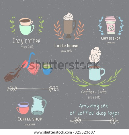 Create your own hand drawn coffee shop  logo. Hand drawn vintage creative editable logotype. - stock vector